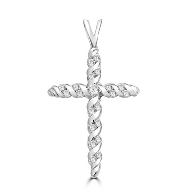 Diamond Essence round stones set in spiral gold twists to make this beautiful cross pendant. 0.45 ct.t.w. in Platinum plated sterling silver.