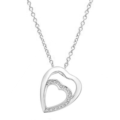 Platinum Plated Sterling Silver pendant with two hearts as one. The larger heart gleams protectingly. The smaller heart nestled lovingly inside flutters with a beautifully bedecked melee of Diamond Essence masterpieces.