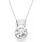 Diamond Essence Slide Pendant with 3.0 ct Round stone and Baguettes, 3.5 ct.tw. in Platinum Plated Sterling Silver.