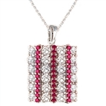 Sterling silver Pendant with ruby and white diamond