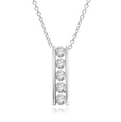 Diamond Essence round brilliant stones, 0.5 ct. each, set in a row between two bars channel setting. 2.5 cts.t.w.in Platinum Plated Over Sterling Silver.