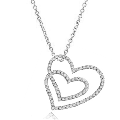 Two intervening hearts, showing off Diamond Essence Round brilliant melee set in Platinum Plated Sterling Silver. 2.5 cts.t.w.