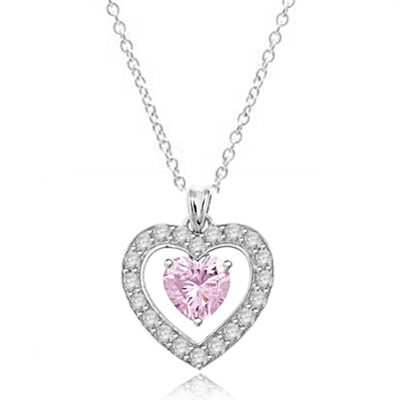 Diamond Essence Heart Shape Pendant with Heart Shape Pink Stone and Brilliant Melee, 4.0 cts.t.w. - SPD7009