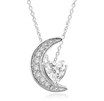 Moon is yours-set in a perfect harmony this pendant with 1 carat heart essence and round brilliant masterpieces in Platinum Plated Sterling Silver. 1.20 cts.t.w.