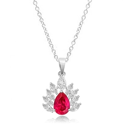Diamond Essence Pendant with Pear cut Ruby and Brilliant Marquise Stones, 4.0 cts.t.w. - SPD7016