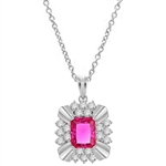 Diamond Essence 4 carat Ruby Emerald cut stone supported by silver bars on four corners and group of five round brilliant stones on each side. 6 cts.t.w. set in Platinum Plated Sterling Silver.