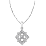 Diamond Essence Designer Pendant with Round Stones in Platinum Plated Sterling Silver.