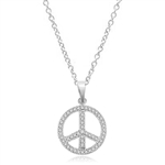 PEACE Sign Pendant. Platinum Plated Sterling Silver Pendant, channel set Round Brilliant Diamond Essence stones sparkling bright and spreading peace everywhere. 1.00 ct.t.w.
