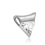 pendant-1ct triangle cut stone in Platinum Plated Sterling Silver