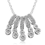 Diamond Essence Art Deco Pendant Set in Solid Sterling Silver Displaying 5 Arrays of dazzling White Brilliant Essence boasting 5 Cts. T.W.