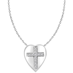 Diamond Essence Cross Pendant with round stones in Platinum Plated Sterling Silver.