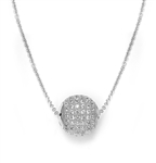 "Diamond Essence Round Stone Pendant with 18"" Chain in Platinum Plated Sterling Silver."