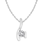 Designer Pendant with Tension-Set Round Brilliant Diamond Essence in Platinum Plated Sterling Silver, 0.35 Ct.T.W.