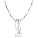 Diamond Essence Silver Slide Pendant with 0,05 Ct. T.W. Round Brilliant Melee, Chain included.