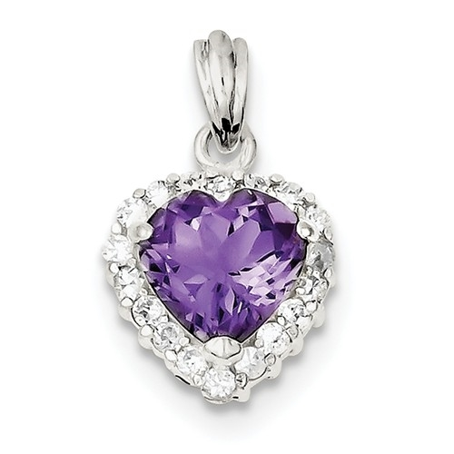 Platinum Plated Sterling Silver Diamond Essence Pendant With Amethyst Essence Heart In Center Surrounded By Round Brilliant Melee, 3.50 Cts.T.W.