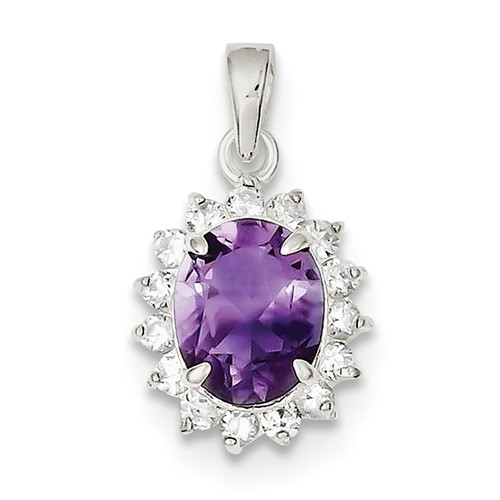 Platinum Plated Sterling Silver Diamond Essence Pendant With Amethyst Essence Oval Cut Center Surrounded By Round Brilliant Melee, 3 Cts.T.W.