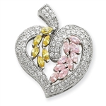 Diamond Essence Beautiful Designer Heart Pendant, with Yellow Sapphire and Pink Sapphire marquise stones, and Round Brilliant Melee set artistically in Platinum Plated Sterling Silver, 2.0 Cts.T.W.