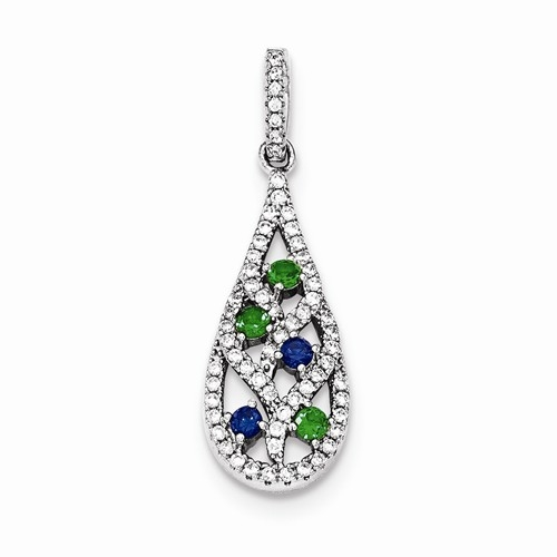 Diamond Essence Designer Tear Drop Pendant, with Emerald Essence and Sapphire Essence Round stones and Brilliant Melee set in prong setting. 1.10 Cts.T.W. in Platinum Plated Sterling Silver.
