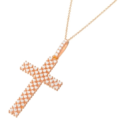 Rose gold plate silver cross pendant
