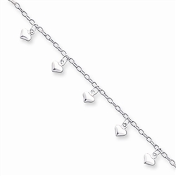 Sterling Silver 9inch Polished Puffed Heart Anklet