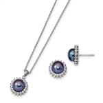 Diamond Essence Melee And Fresh Water Cultured Black pearl Earring Pendant set, 3.0 Cts.t.w. set in Platinum Plated Sterling Silver.