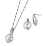 Diamond Essence Coin Shape Pearl Set with Round Brilliant Melee, 1.0 Cts.t.w. set in Platinum Plated Sterling Silver.