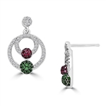 Diamond Essence, Ruby Essence and Emerald Essence melee set in artistic pave setting Earrings, 3.50 Cts.T.W. in Platinum Plated Sterling Silver.