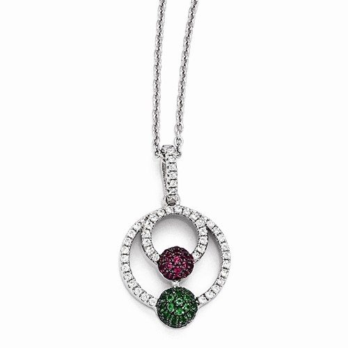 "Diamond Essence, Ruby Essence and Emerald Essence melee set in artistic pave setting. Pendant with 18"" chain, 2.5 Cts.T.W. in Platinum Plated Sterling Silver."