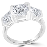 Asscher Diamond ring , cut stone in sterling silver band