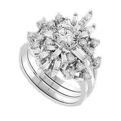 Beautiful Ring Set with Baguettes and Round Diamond Essence, 3.0 Cts T.W. in Platinum Plated Sterling Silver.