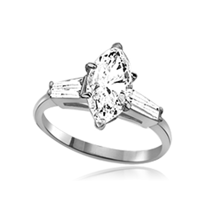 A 4.0 carats Diamond Essence Marquise cut stone in center with baguettes on each sides set in Platinum Plated Sterling Silver . 4.5 Cts. T.W.