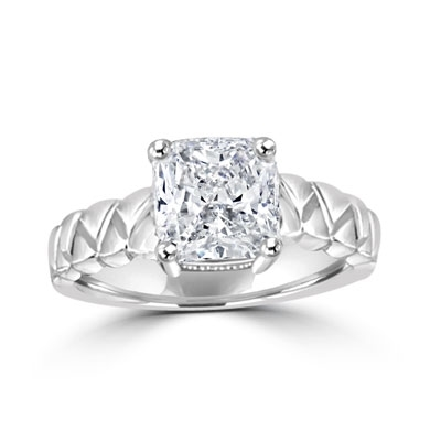 cushion cut diamond on ethnic band in sterling silver ring