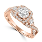 Diamond Essence Rose Plated Sterling Silver Designer Ring With 0.75 Ct. Round Brilliant Center Stone, 1.0 Cts.T.W.
