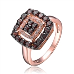 Diamond Essence Rose Plated Square Pendant with Round Brilliant Diamond Essence And Chocolate Essence Stones