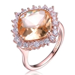 Diamond Essence Ring With Morganite Center Surrounded By Melee Set In 8 Prongs,6.50Cts.T.W. In Rose Plated Sterling Silver.