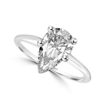 1.0 carat Diamond Essence pear-cut stone set in Platinum Plated Sterling Silver. (Also available in 14K Solid White Gold, Item#WRD109).