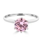 2.0 carat Pink Round Brilliant stone set in, Platinum Plated Sterling Silver, a perfect solitaire ring. ( Image in Yellow but Product in Platinum Plated Sterling Silver)