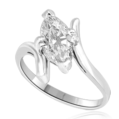 Solitaire Ring with artistically set Diamond Essence Marquise  in prong setting. 1.5 Cts. T.W. set in Platinum Plated Sterling Silver.