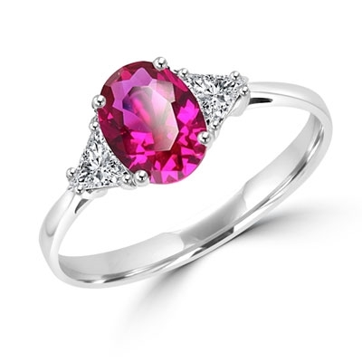 Stunning Ring, 2 Cts. T.W, with 1 Ct Oval Cut Ruby Center and White Trilliant Diamond Essence Stones on side, in Platinum Plated Sterling Silver.