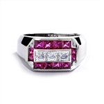 Man's Ring with 0.75 cts, Radiant Square Diamond Essence Center Stones surrounded by 1.0 cts. Princess Cut Ruby Essence, channel set in Platinum Plated Sterling Silver.