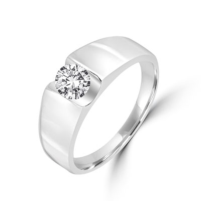 Platinum Plated Sterling Silver ring with 1.0 carat round brilliant stone.