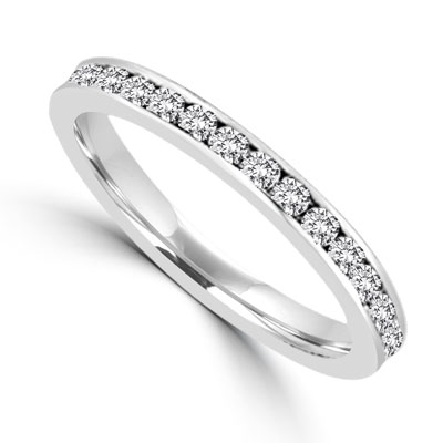 channel set eternity band in platinum plated sterling silver