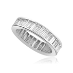 Ring – channel set baguettes eternity band in Platinum Plated Sterling Silver