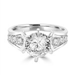 A beautiful engagement ring, Diamond Essence round brilliant stone of 2.0 carat set in six prongs and curved shank with beautiful round melees. 2.5 ct.t.w. set in Platinum Plated Sterling Silver.