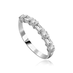 Delicately dazzling Band with Baguettes ring Platinum Plated Sterling Silver