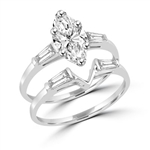 wedding set with 1.25 ct marquise cut diamond in silver ring