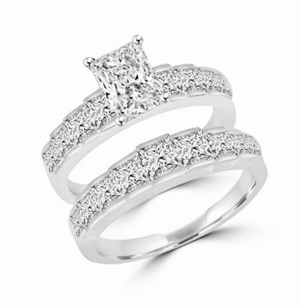 Ring-wedding set with emerald and princess stones