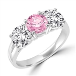 Pink & white 3 stone ring of platinum plated  silver