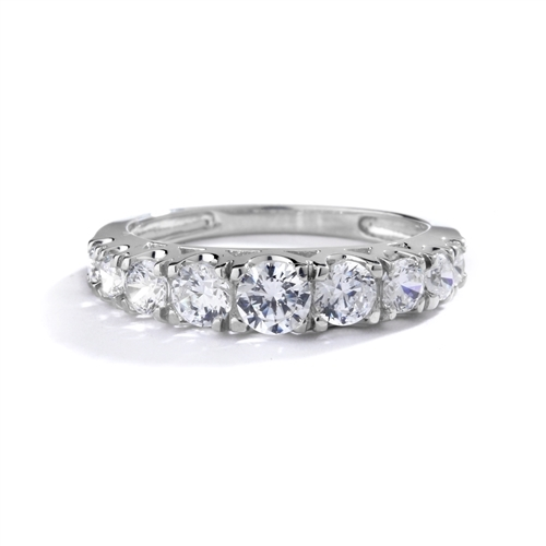 Designer Band with Beautifully set Graduating Round Diamond Essence. 1.10 Cts T.W. set in Platinum Plated Sterling Silver.