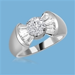 "Cunegonde - As Voltaire Says ""Tend your garden"", say  it with this Ring, 1.5 Cts. T.W. with 1 Ct. Round Brilliant Center and 10 Baguettes, in  Platinum Plated Sterling Silver."